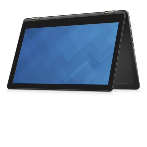 Dell Inspiron 15 7000 Series (Model 7568) 15-inch 2-in-1 notebook computer with Skylake (SKL) processor. Product's keyboard has been partially folded over into a tent shape with screen usable as a tablet