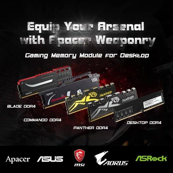 Apacer Four Versions of DDR4 Desktop RAM for Kaby Lake and