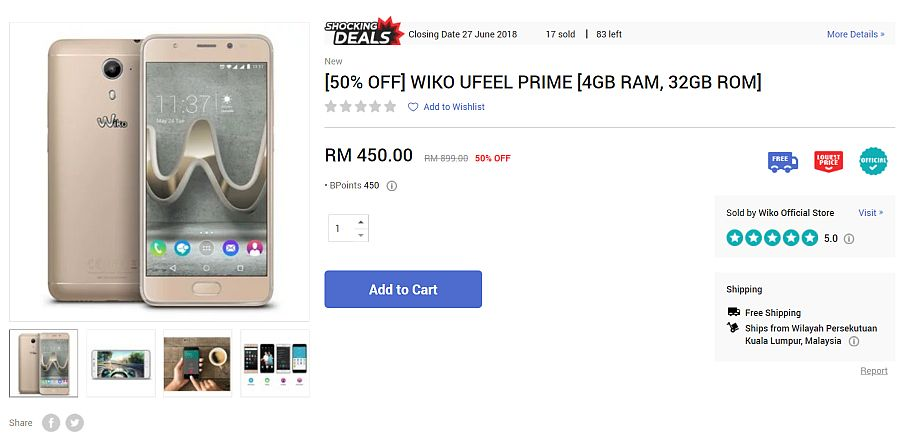 wiko Ufeel Prime Now on 50% Discount, Offer Only at 11street