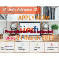 UniFi Broadband Package 30mbps Promotion Price extended RM179
